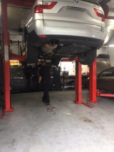Underside of Vehicle Being Repaired at Columbus Auto Group West